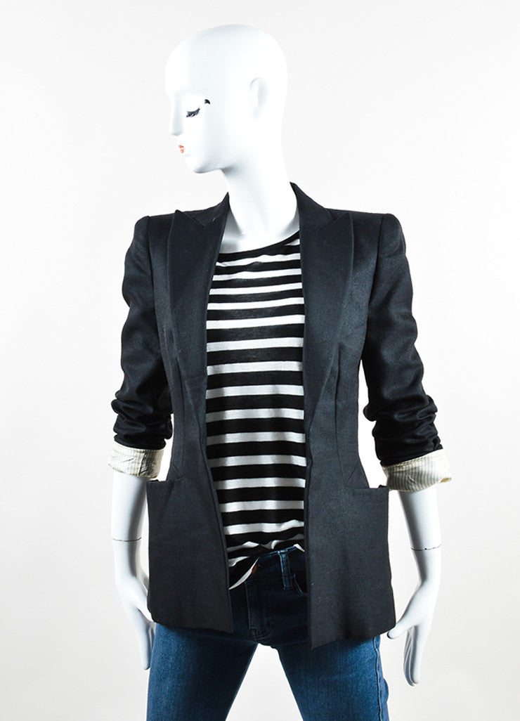 Sportmax Black Wool and Silk Blazer  Frontview