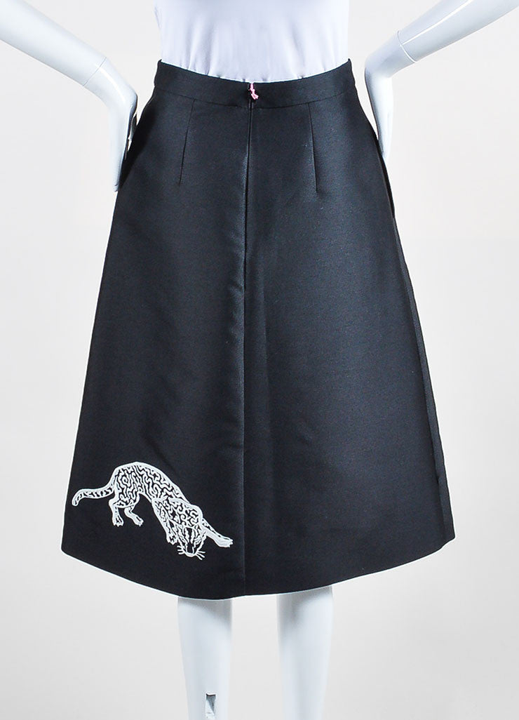 "Black and White Stella McCartney ""Lindsey Wild Cats"" A-Line Skirt Backview"