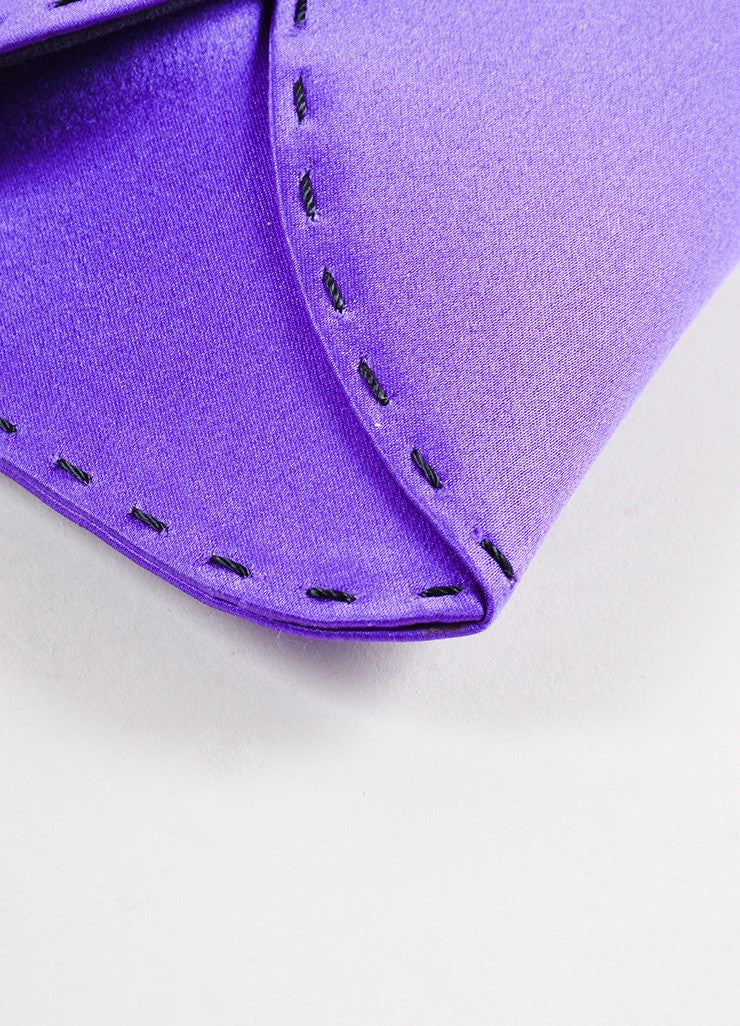 "VBH Purple Satin Stitch Detail ""Martini"" Clutch Bag Detail"