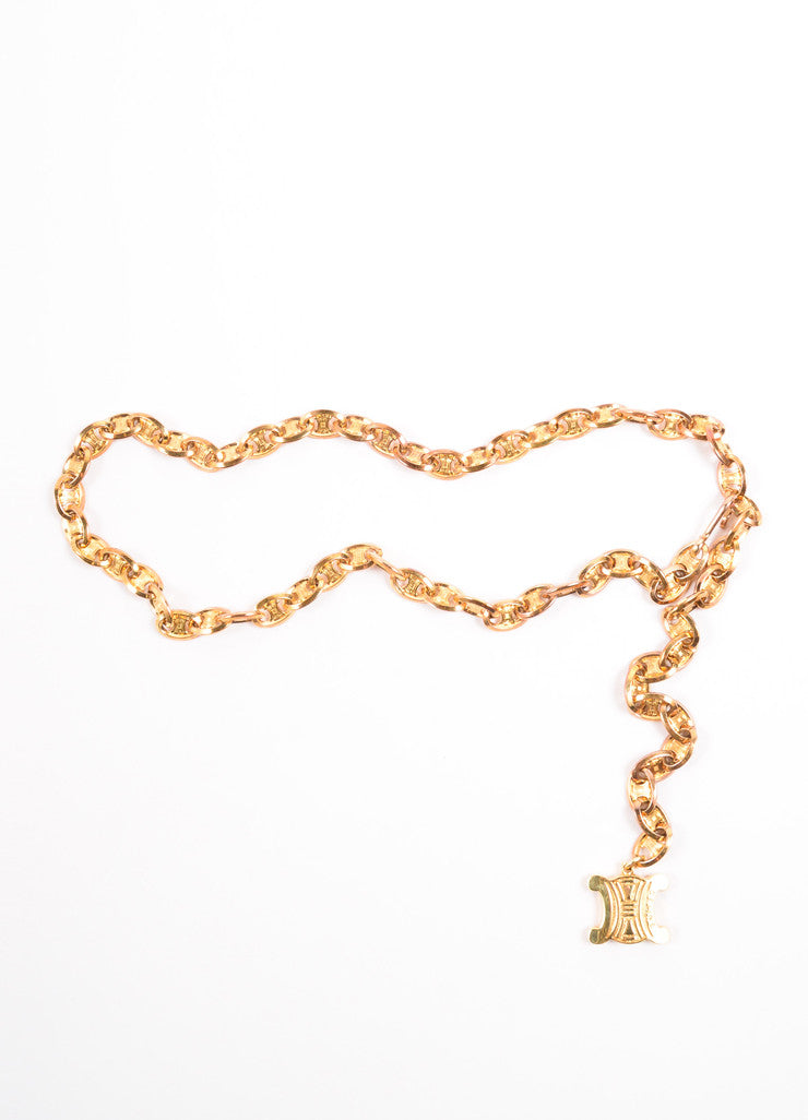 Celine Gold Toned Chain Link Logo Belt Frontview