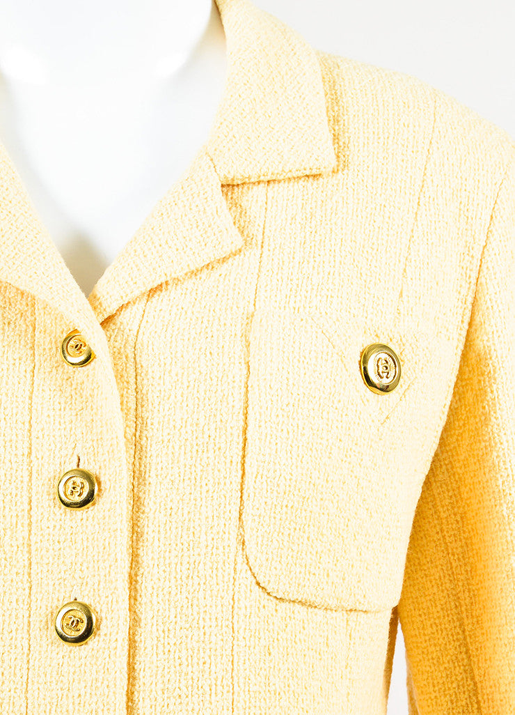 Chanel Yellow and Gold Toned Boucle 'CC' Button Long Jacket Detail