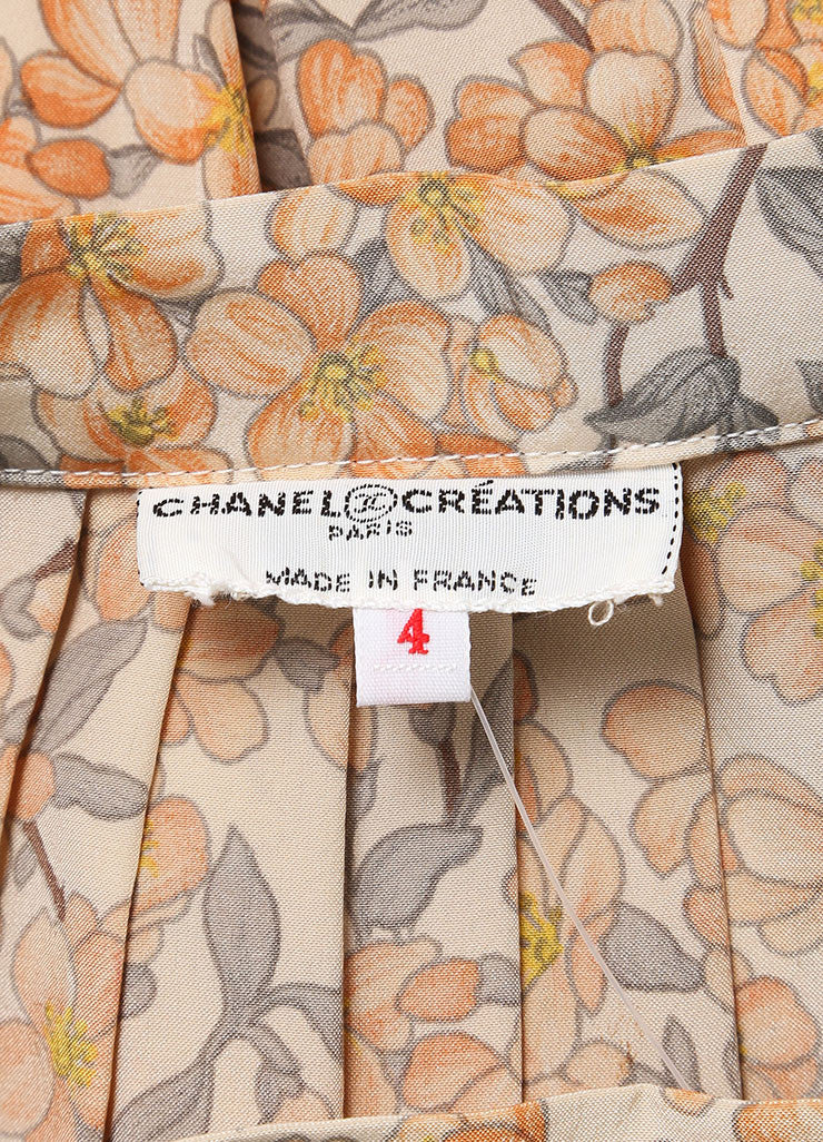 Chanel Peach Floral Print Pleated Skirt And Sleeveless Blouse Set Tag