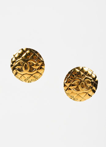 Chanel Gold Toned Metal 'CC' Quilted Round Clip On Earrings Frontview