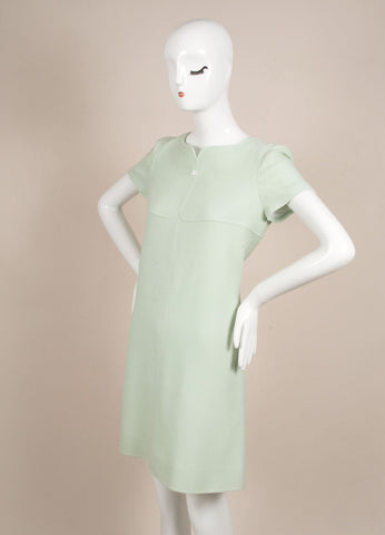 Courreges Mint Wool Short Sleeve Shift Dress Sideview