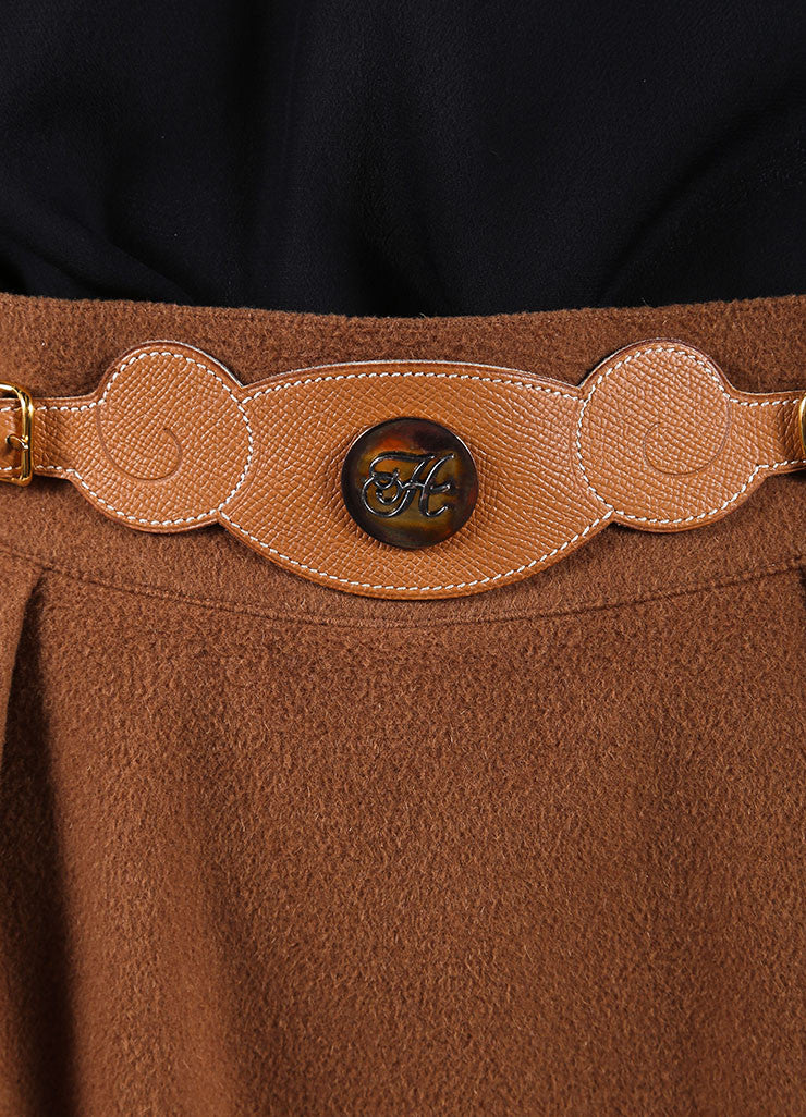 Hermes Brown Cashmere Leather Belted Pencil Skirt Detail