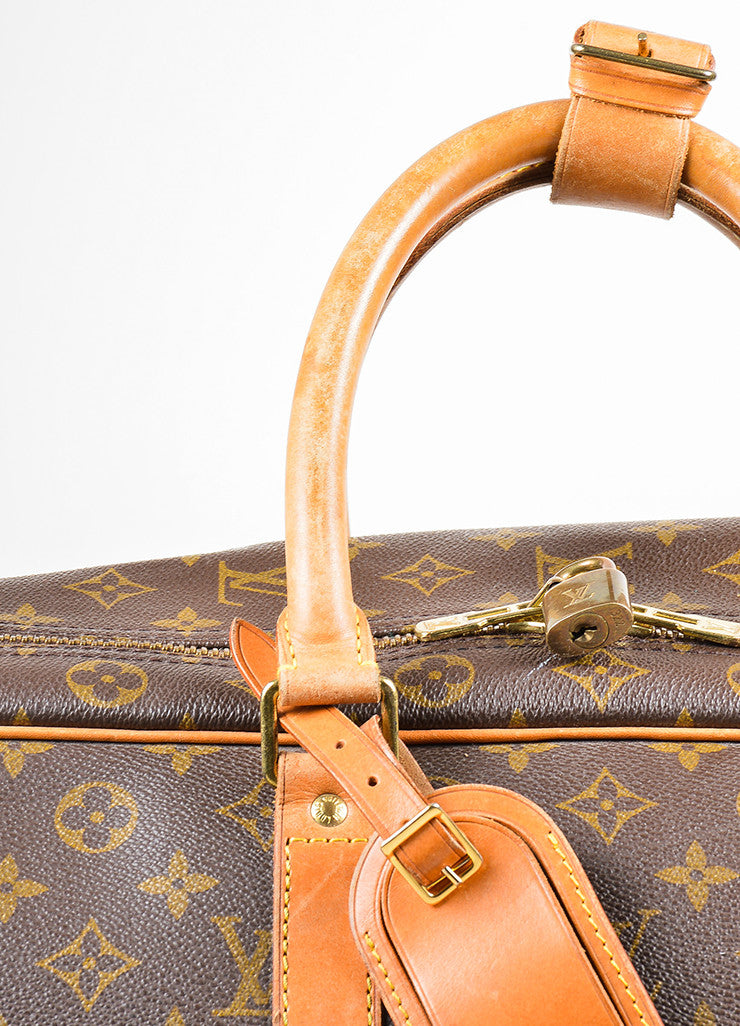 "Louis Vuitton Brown and Tan Canvas and Leather Monogram ""Sirius 60"" Suitcase Detail 3"