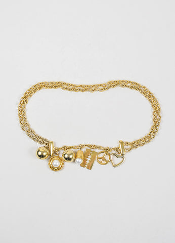 Moschino Gold Toned Faux Pearl Charm Chain Belt Frontview