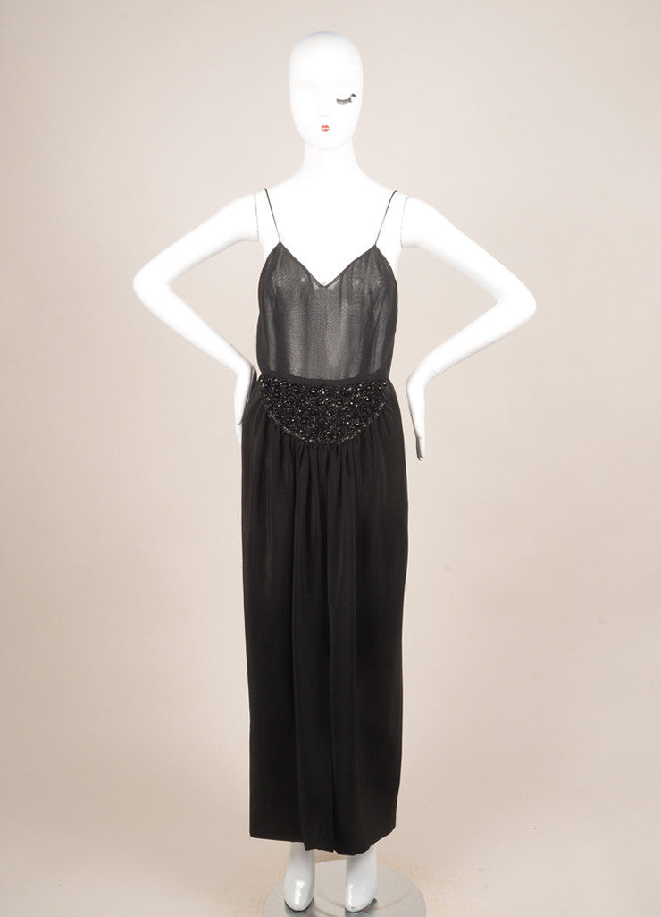 Oscar de la Renta Black Silk Beaded Sheer Sleeveless Dress Frontview