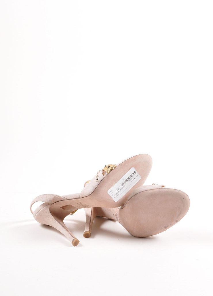 Valentino Nude and Gold Toned Snakeskin Studded Slingback Sandals Outsoles