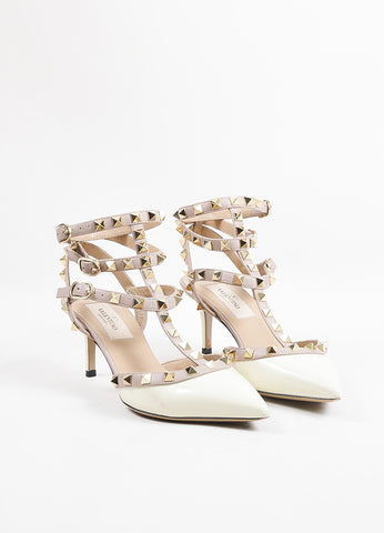Valentino Beige, Cream, and Gold Toned Patent Leather Rockstud Pumps Frontview