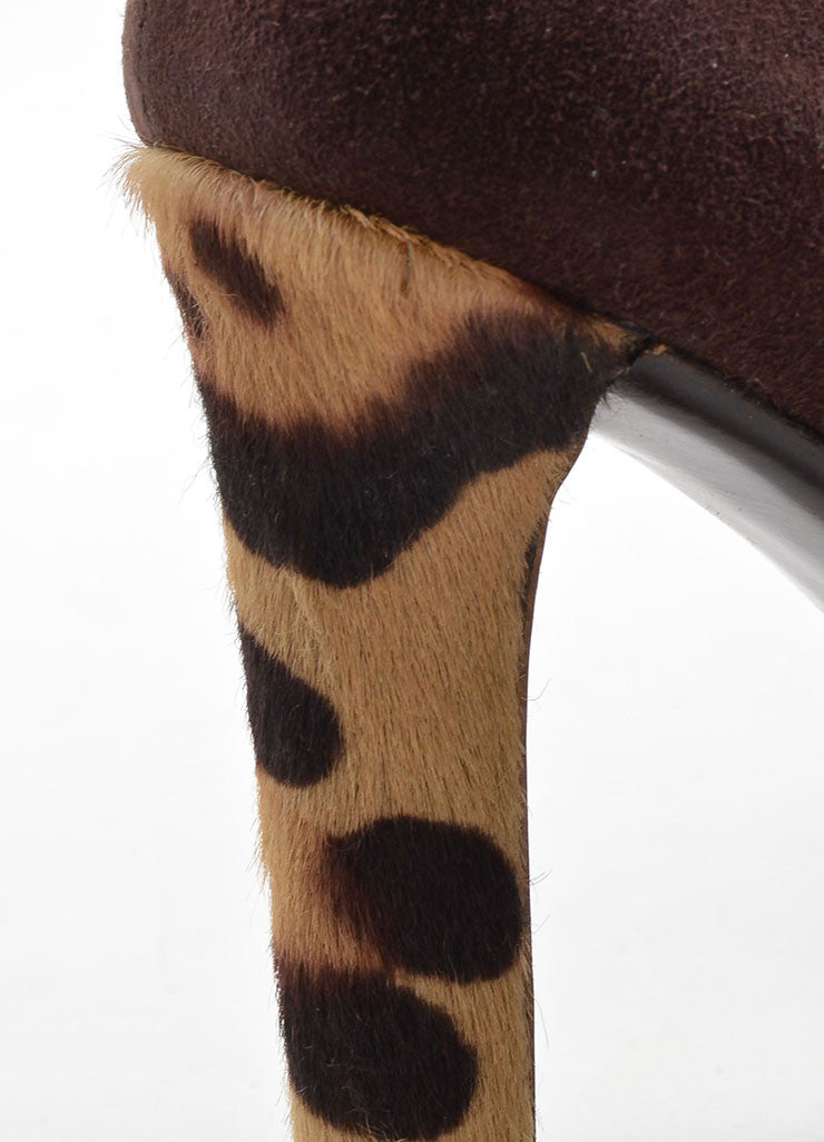 Valentino Brown Suede and Pony Hair Cheetah Print Heel Pointed Toe Pumps Detail