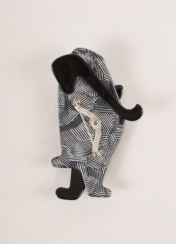 Lea Stein Black and Silver Toned Acetate Metallic Striped Standing Cat Brooch Backview