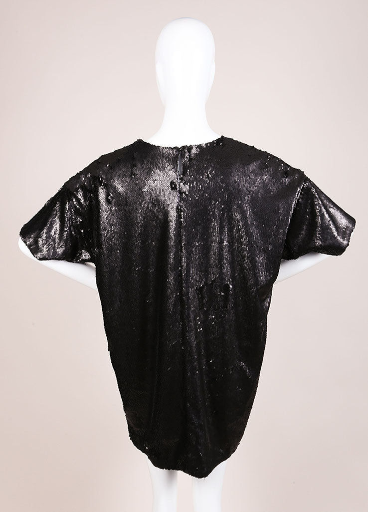Wayne New With Tags Black Sequin Short Sleeve Oversized T Shirt Backview