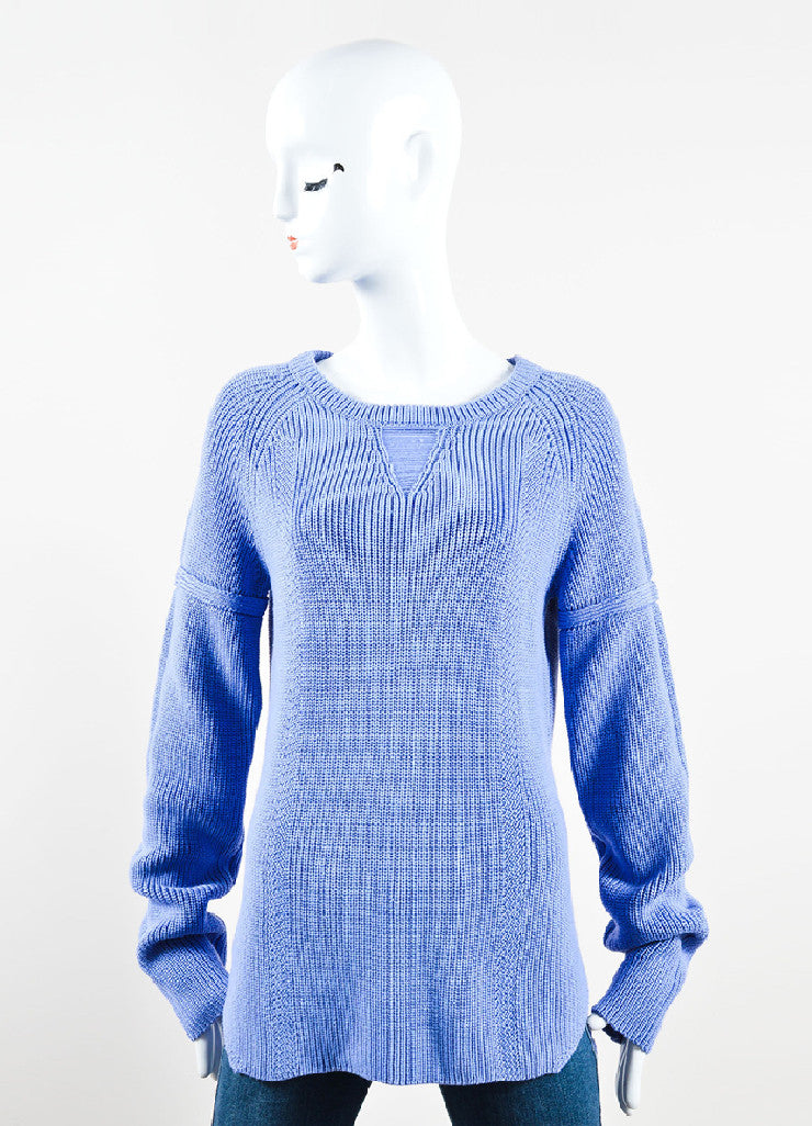 Wes Gordon Periwinkle Blue Cotton Silk Knit Pullover Sweater Frontview