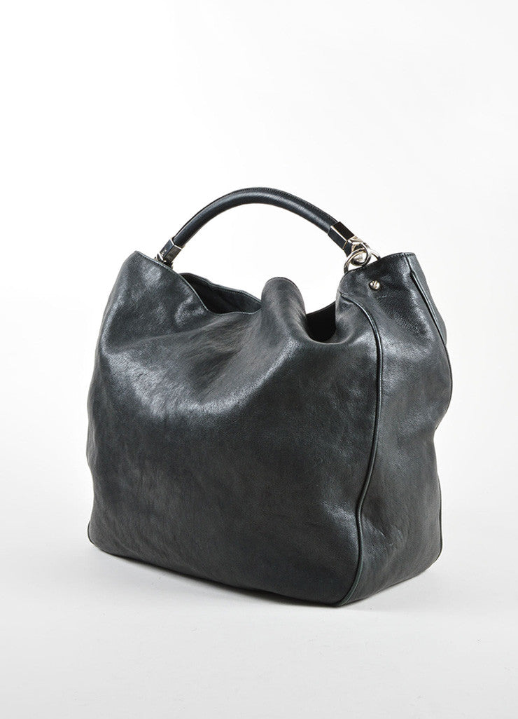 "Yves Saint Laurent Black and Silver Toned Leather ""Roady"" Hobo Bag Sideview"