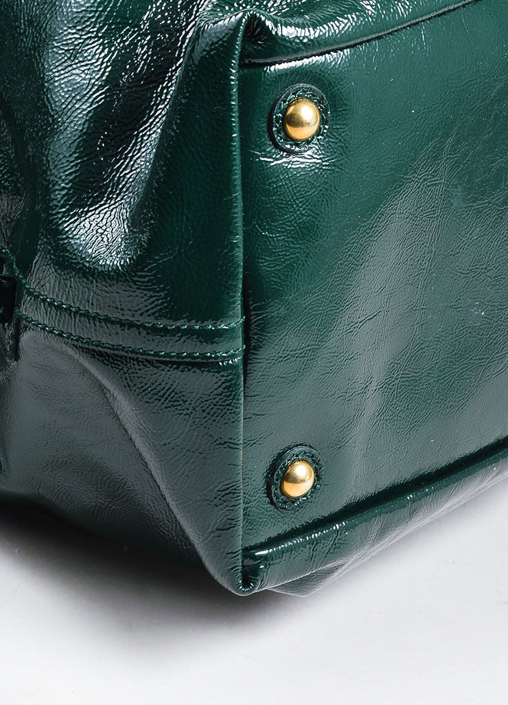 "Green Yves Saint Laurent Textured Patent Leather ""Easy"" Caryall Bag Detail"
