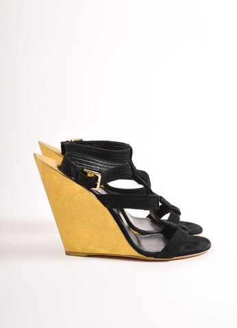 "Yves Saint Laurent Black and Gold Suede Metallic ""Totem"" Sandals Sideview"