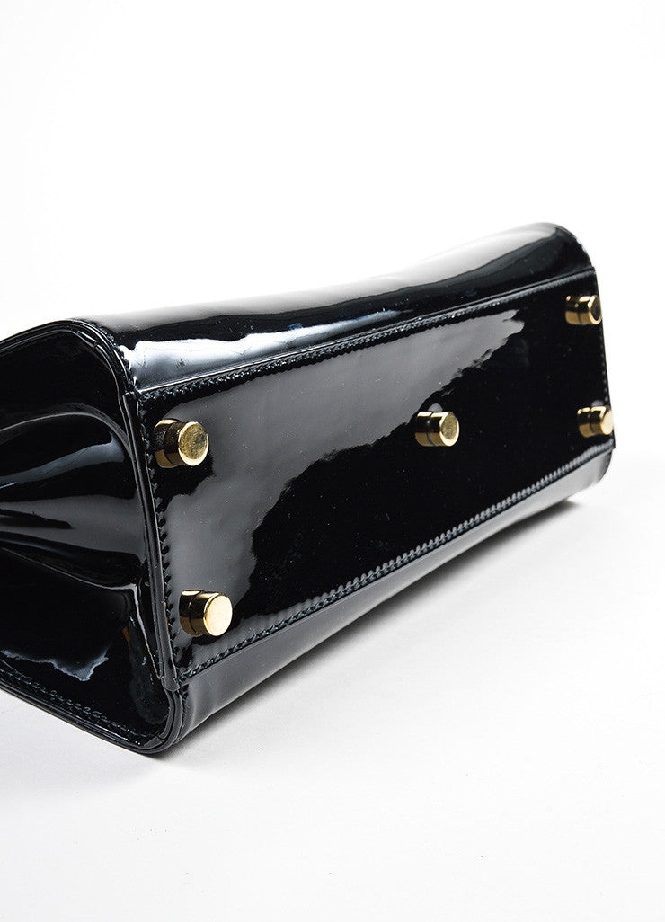 "Black and Gold Toned Yves Saint Laurent Rive Gauche Patent Leather ""Uptown"" Handbag Bottom View"