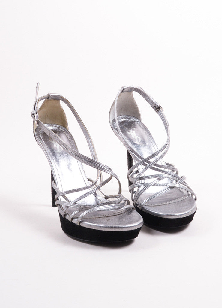 Yves Saint Laurent Silver and Black Metallic Leather Suede Trim Sandals Frontview