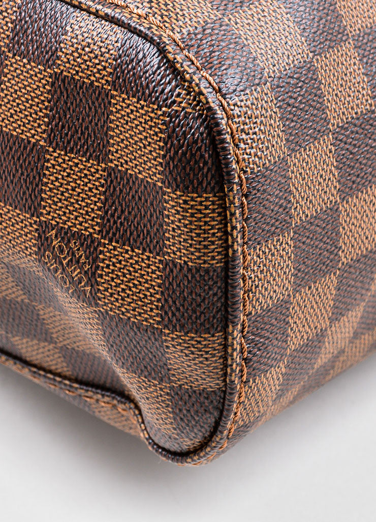"Brown Louis Vuitton Damier Ebene Canvas ""Portobello GM"" Tote Bag Detail"