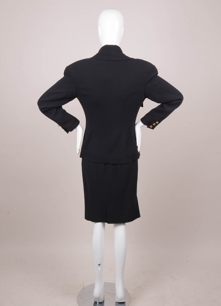 Navy Blue Skirt Suit With Gold Buttons