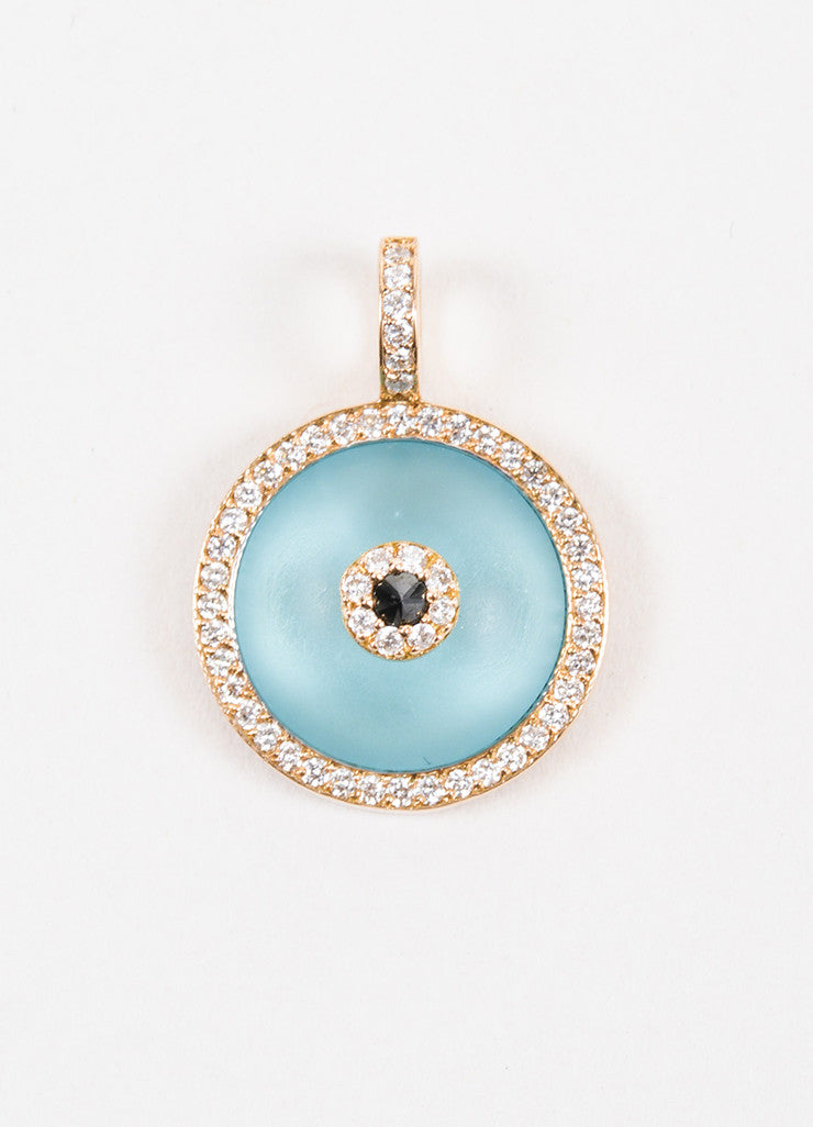 "Aaron Basha Rose Gold Blue Topaz and Diamond Large ""Evil Eye"" Charm Frontview"