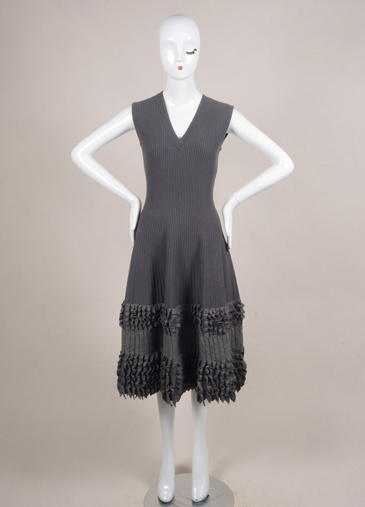 Alaia Grey Wool Ribbed Fitted Ruffle Trim Sleeveless Dress Frontview
