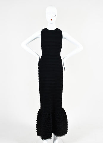 Alaia Black Stretch Knit Ruffle Open Back Sleeveless Mermaid Gown Frontview