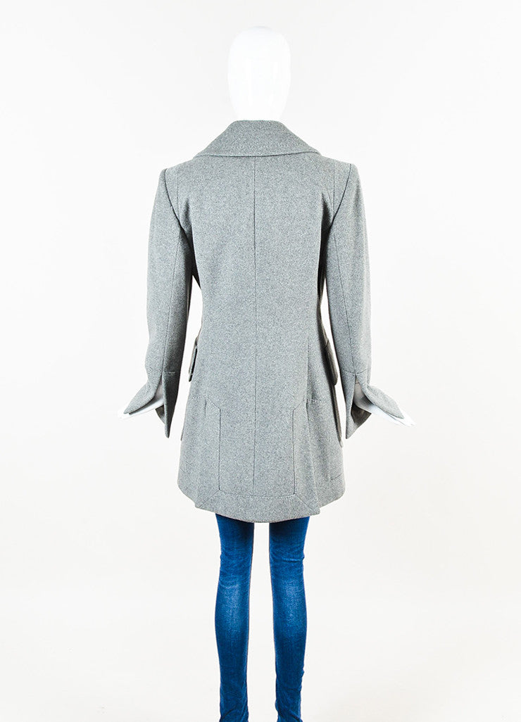 Alexander McQueen Grey Cashmere Double Breasted Pea Coat Jacket Backview