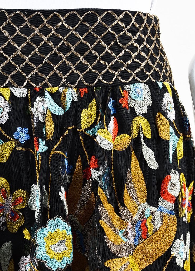 Alice + Olivia Black and Multicolor Mesh Floral Embroidered Tassel Skirt Detail