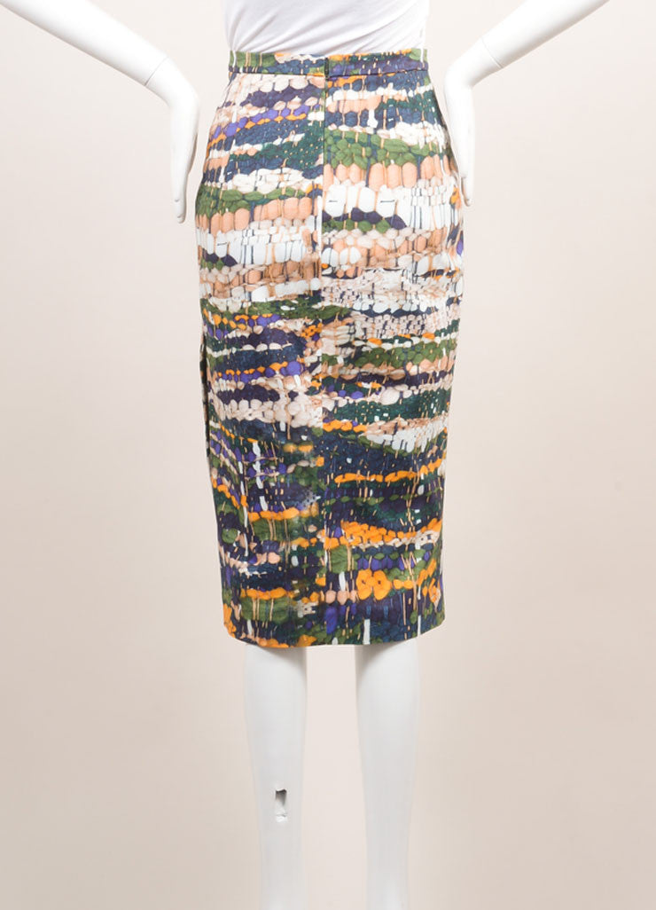 Altuzarra New With Tags Green, Blue, and Yellow Weave Print Pencil Skirt Backview