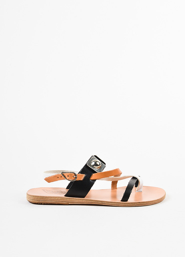 "Ancient Greek Sandals x Peter Pilotto Black Leather ""Alethea"" Sandals Sideview"