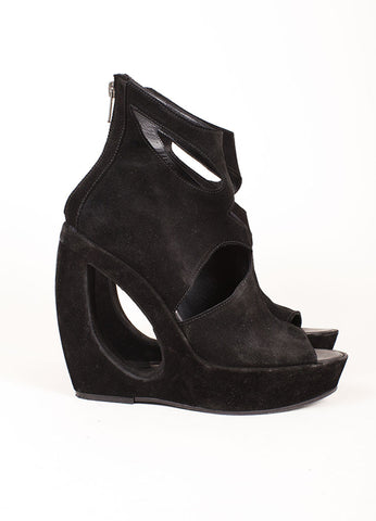Ann Demeulemeester Black Suede Donut Hole Peep Toe Wedges Sideview