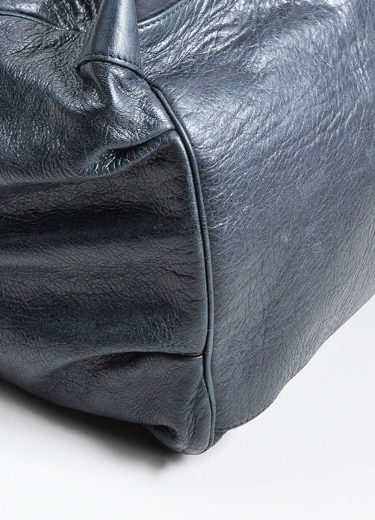 "Black Balenciaga Distressed Leather ""Sunday"" Oversized Tote Bag Detail"
