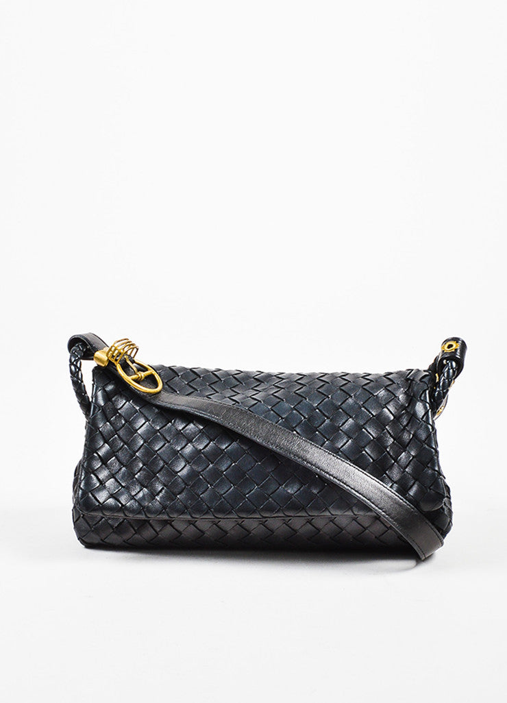 Bottega Veneta Black Woven Leather Flap Shoulder Bag Frontview