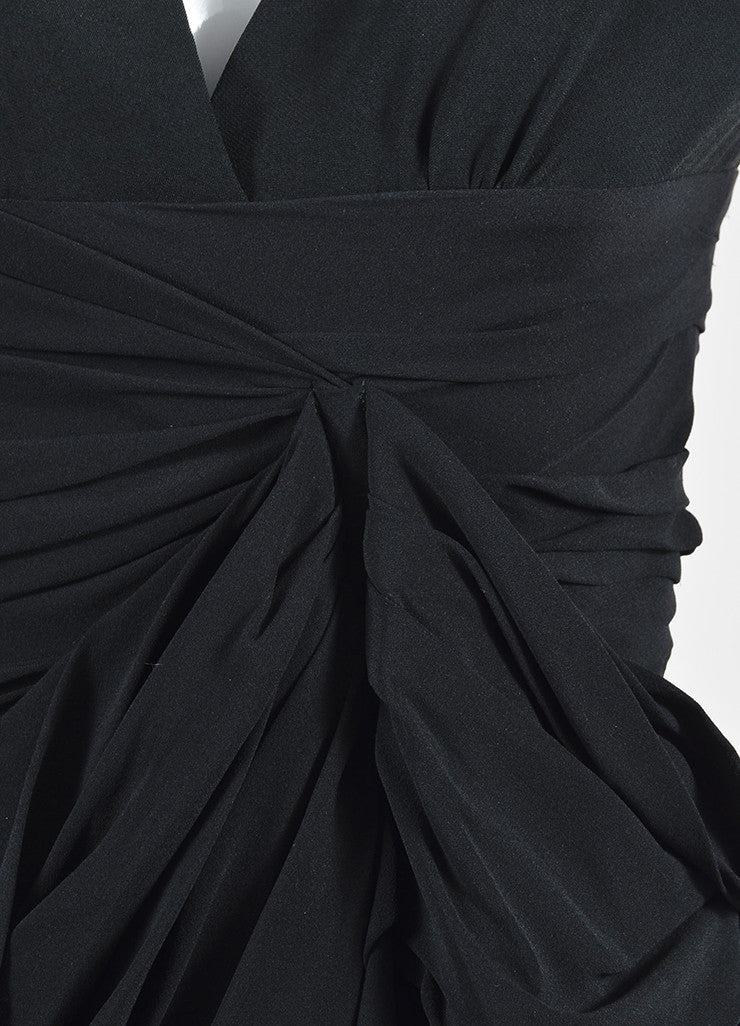 Black Burberry Prorsum Silk Ruffled Gathered Short Sleeve Dress Detail