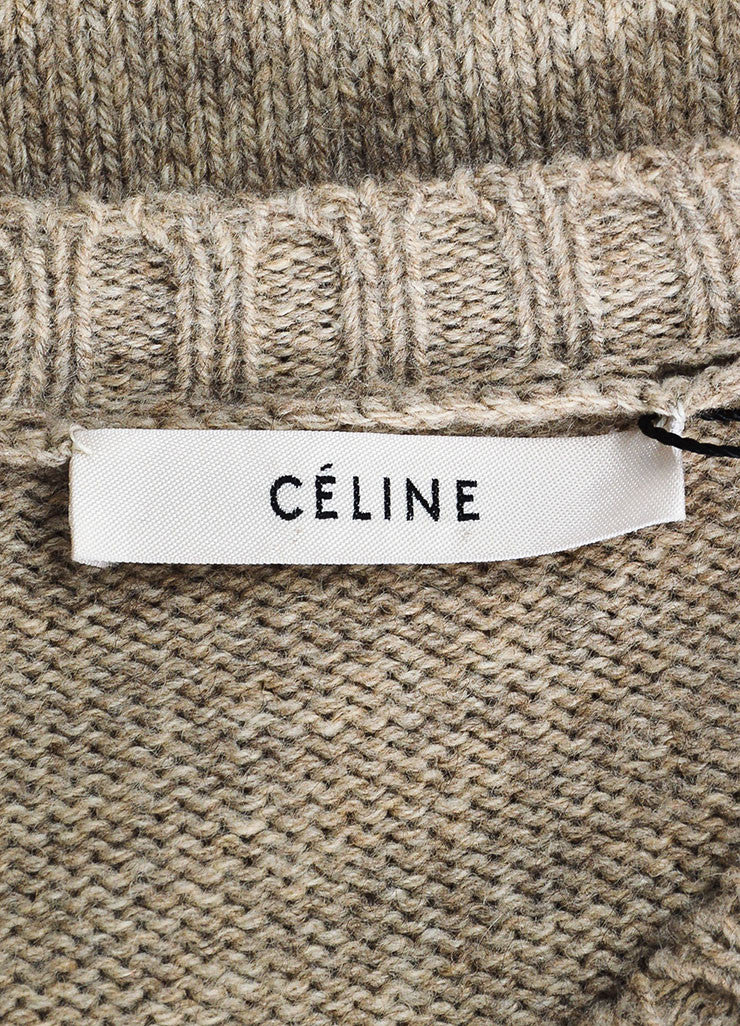 Celine Taupe and Black Wool Leather Elbow Patch Pullover Sweater Brand
