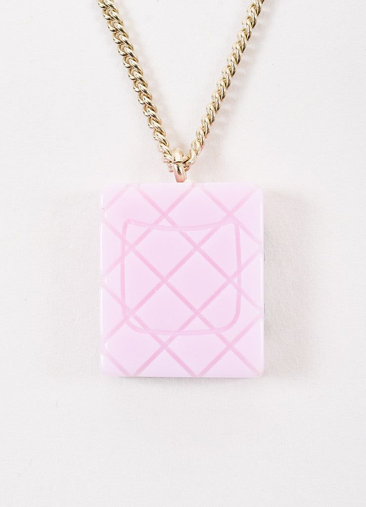 Chanel Black, Gold Toned, and Pink Acrylic and Enamel 'CC' Cambon Pendant Necklace Backview