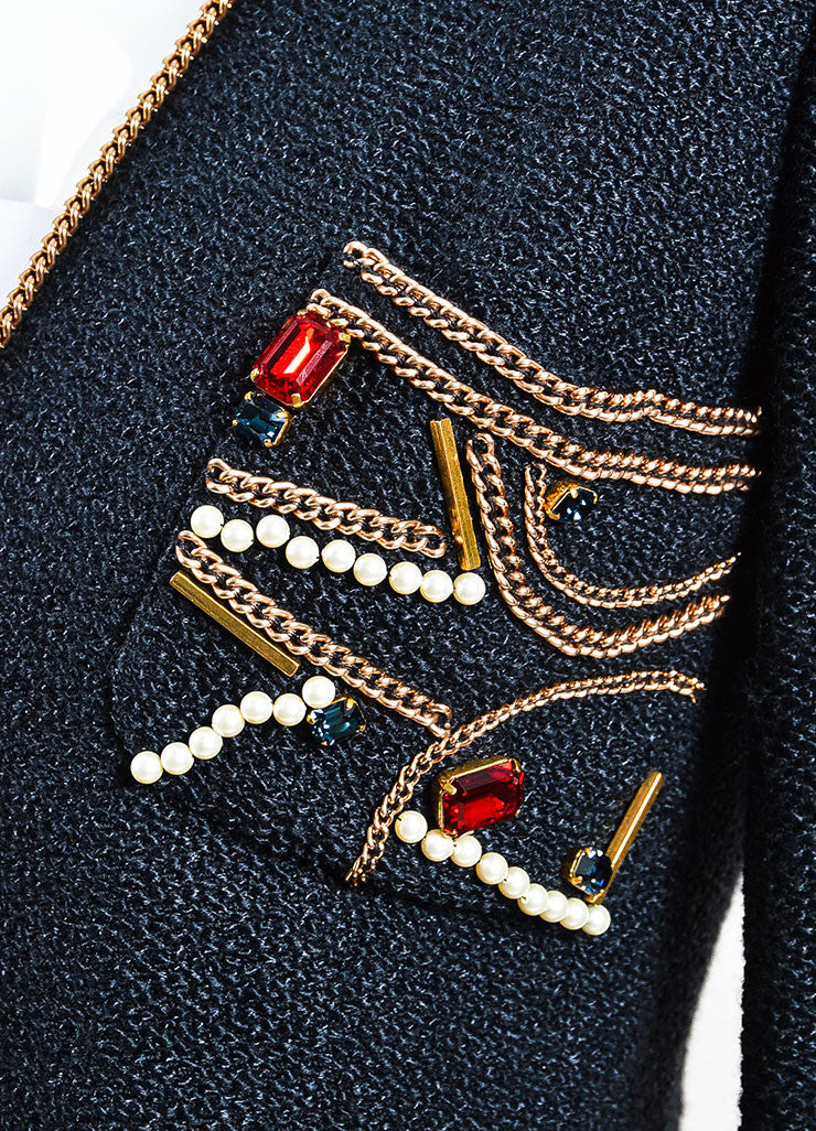 Chanel Black Tweed Gold Toned Chain Faux Pearl Gem Embellished Jacket Detail