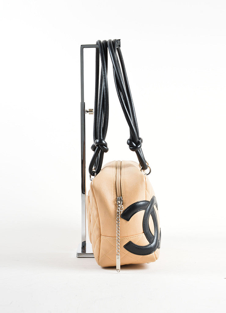 Chanel Beige and Black Quilted Leather Cambon Ligne Bowler Tote Bag Sideview