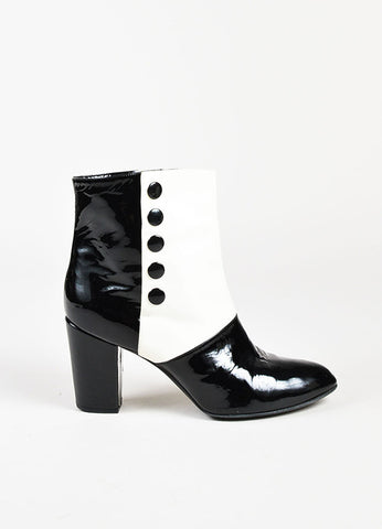Chanel Black and Cream Leather Snap Closure 'CC' Ankle Boots Sideview