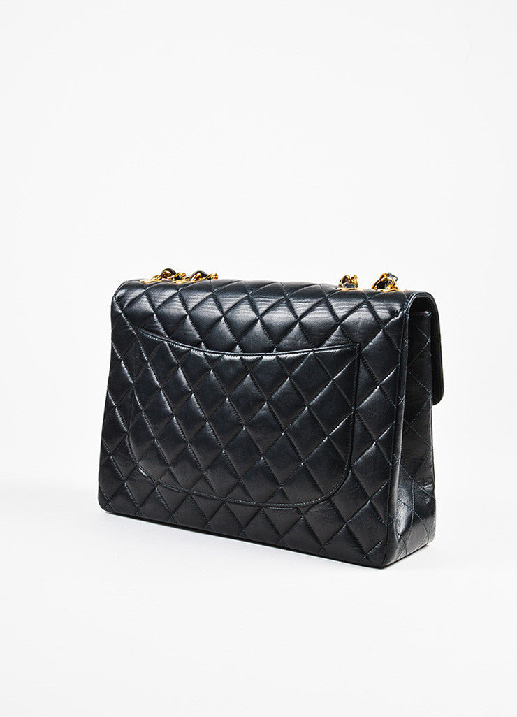 "Chanel Black and Gold Toned Lambskin Quilted 'CC' Turnlock ""Jumbo Flap"" Bag Sideview"