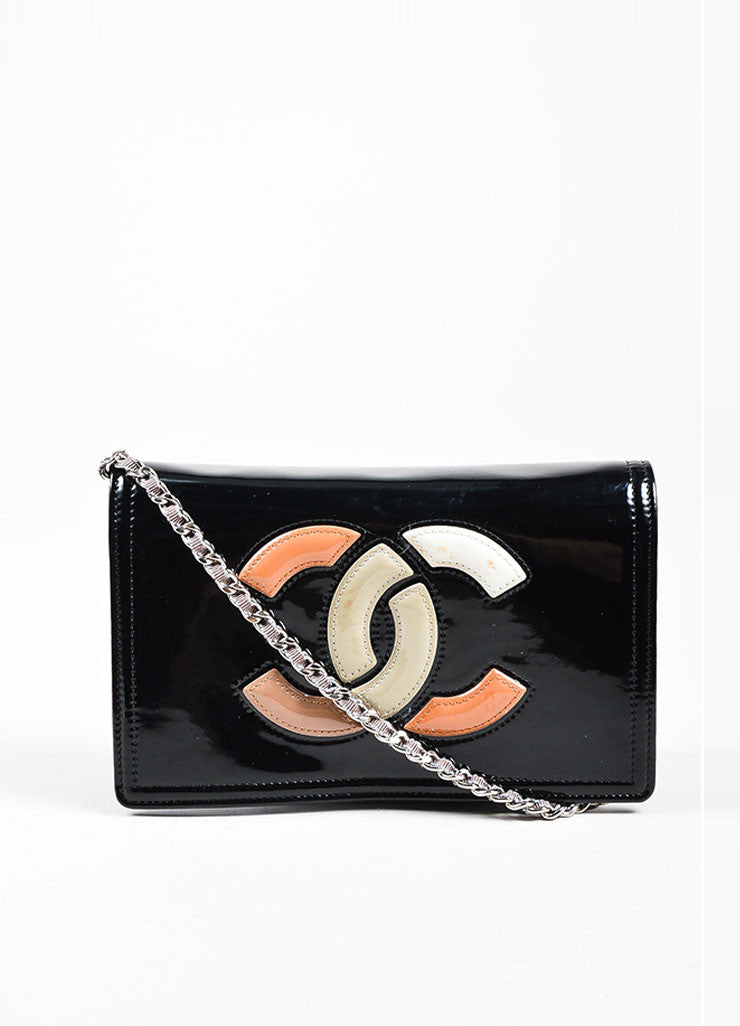 Black and Multicolor Chanel Patent Leather Convertible Clutch Crossbody Bag Frontview