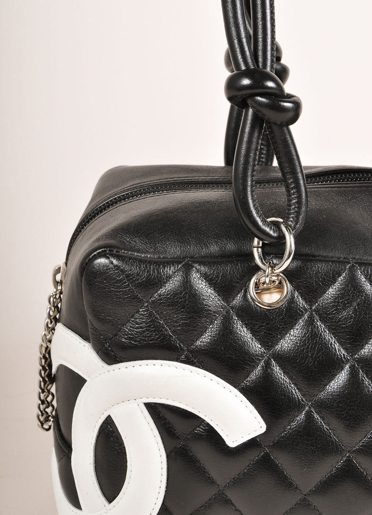 "Chanel Black and White Quilted Leather ""Cambon Ligne Bowler"" Shoulder Bag Detail 2"