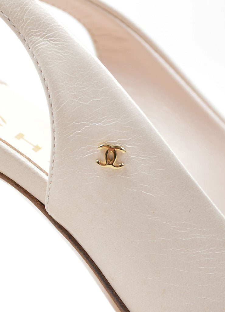 Cream Chanel Leather Pointed Toe 'CC' Slingback Pumps Detail