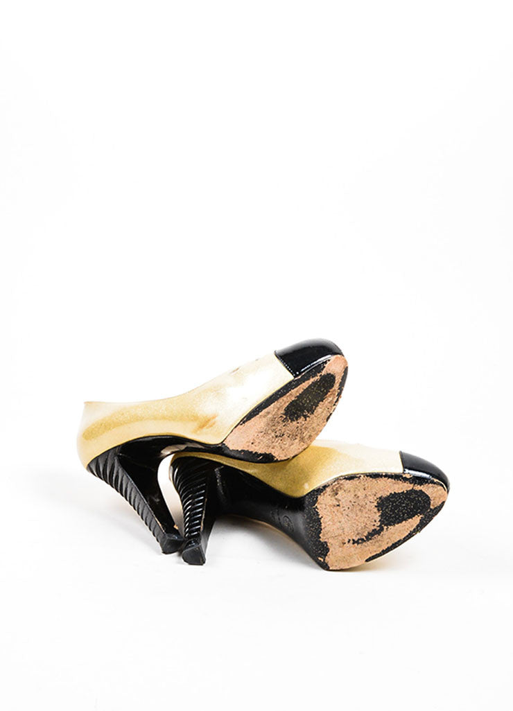 Gold and Black Chanel Patent Leather Glitter Pumps Sole
