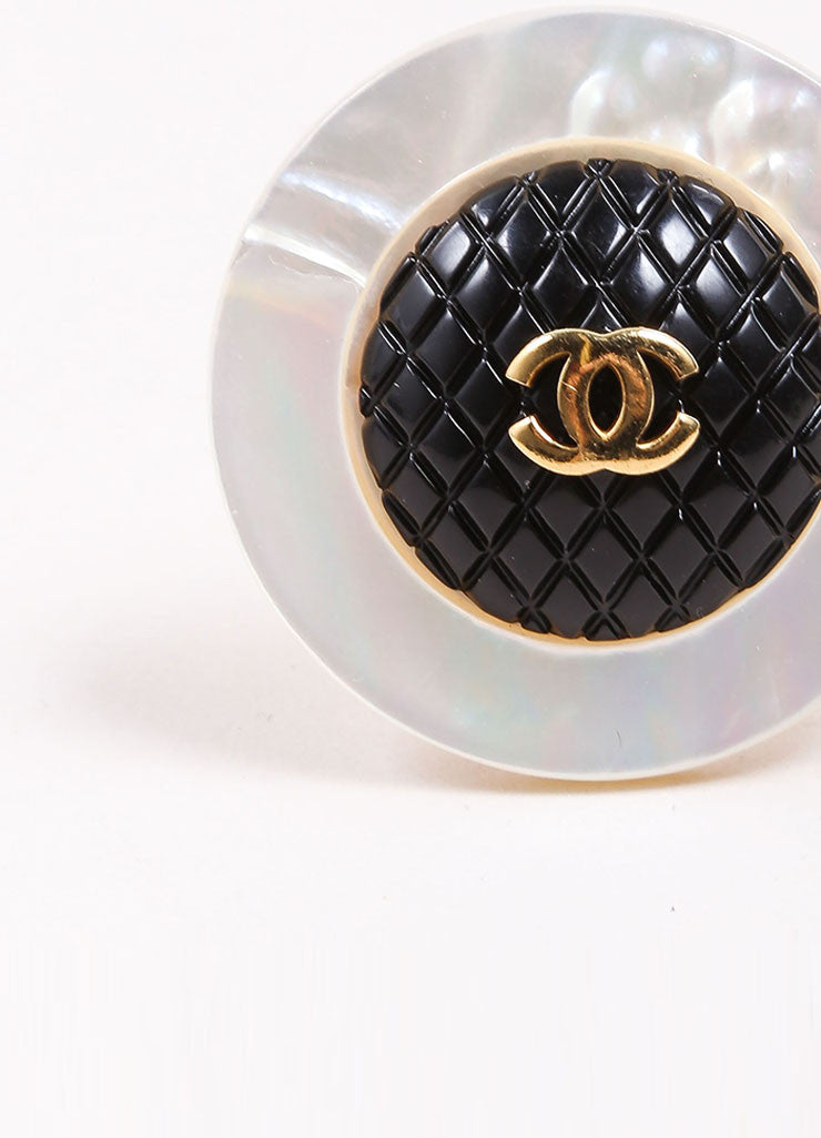 "Chanel Gold Toned Black Quilted Faux Mother of Pearl ""CC"" Round Earrings Detail"