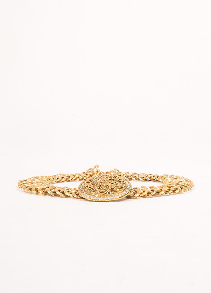 Chanel Gold Toned Chain Link Floral Medallion Choker Necklace Sideview