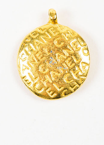 Gold Toned Chanel Mademoiselle Disc Pendant Backview