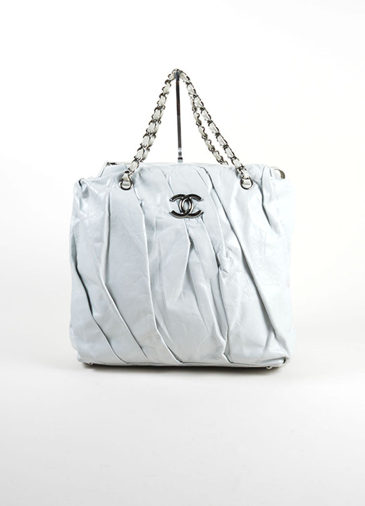 "Chanel Grey Glazed Calfskin Leather Twisted Chain Strap ""CC"" Tote Bag Frontview"